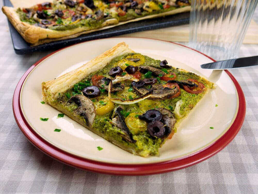 vegan spinach pesto tart