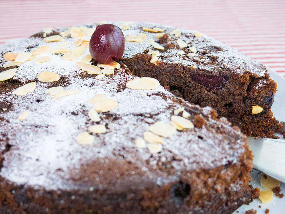 Vegan Cherry Chocolate And Almond Cake