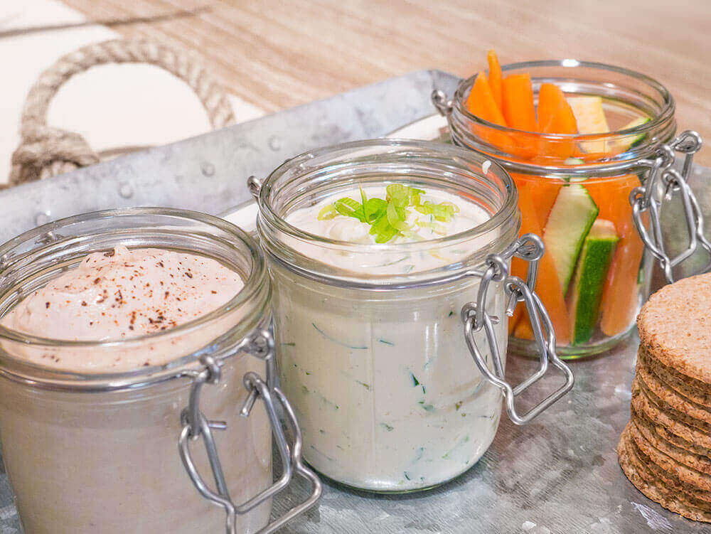 Vegan dips: Greek tzatziki and butterbean hummus