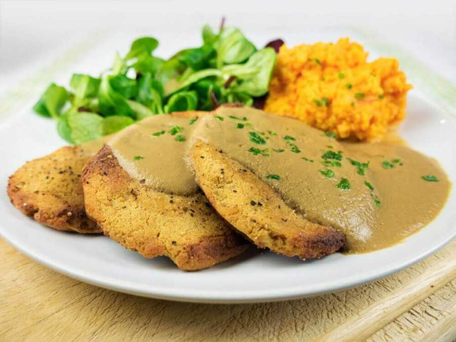 Easy vegan chicken fillets with mushroom gravy and sweet potato mash