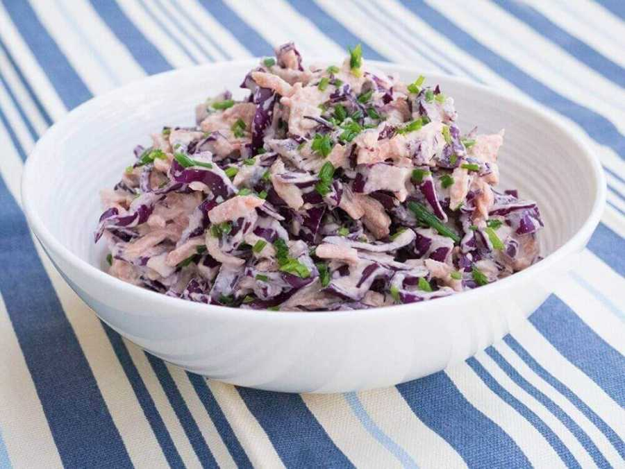 Vegan coleslaw with sunflower seed dressing