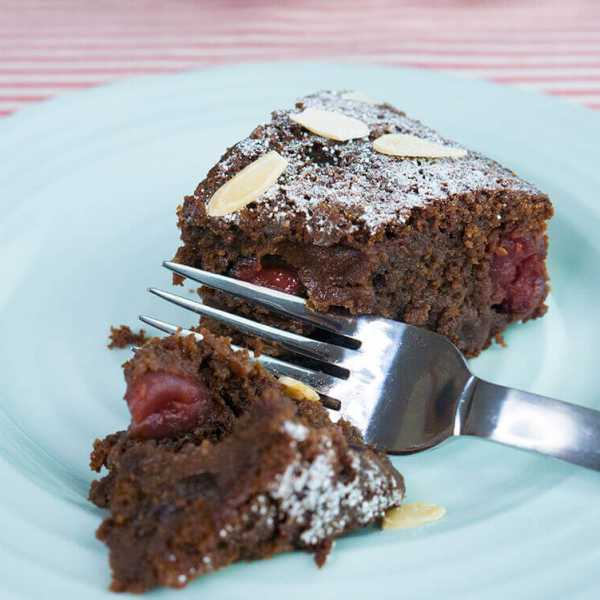 INDULGENT CHERRY CHOCOLATE & ALMOND CAKE