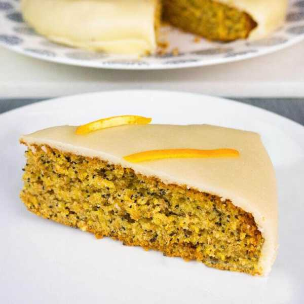 Polenta poppyseed cake covered in marzipan