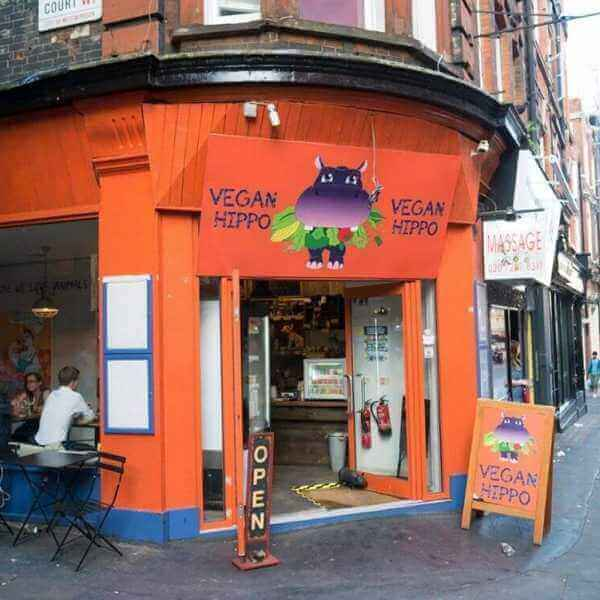 London, UK: Vegan hippo in Soho
