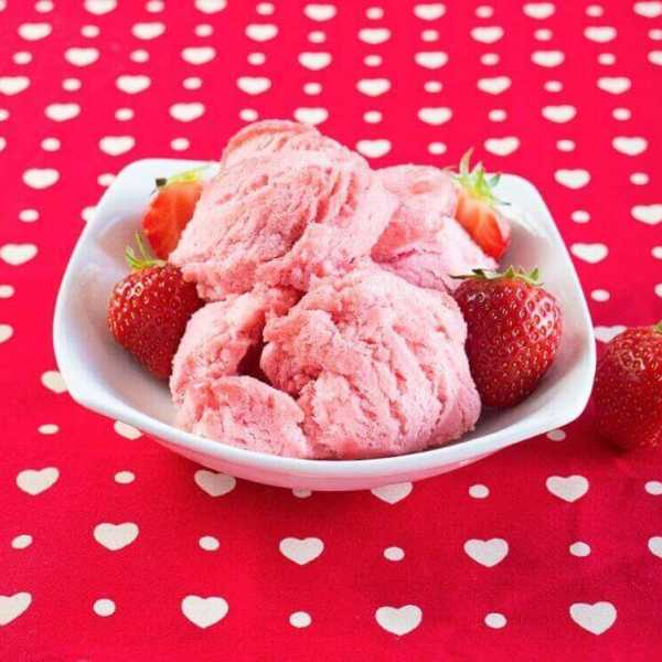Vegan cotton candy strawberry ice cream made with aqua faba