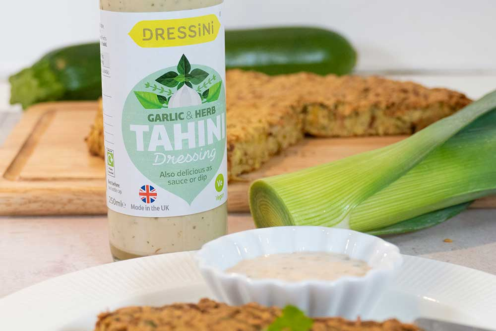 Giant veggie patty with Dressini tahini dip