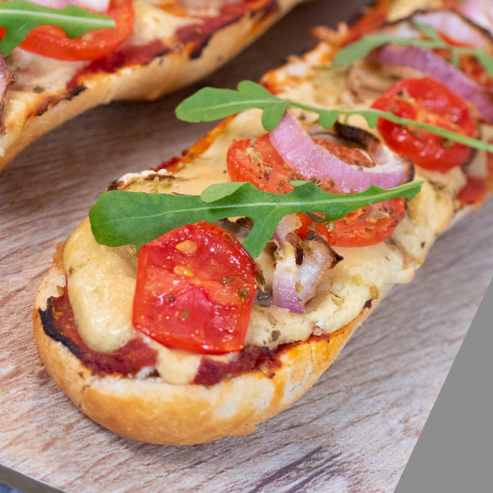 vegan cheese pizza baguette close up