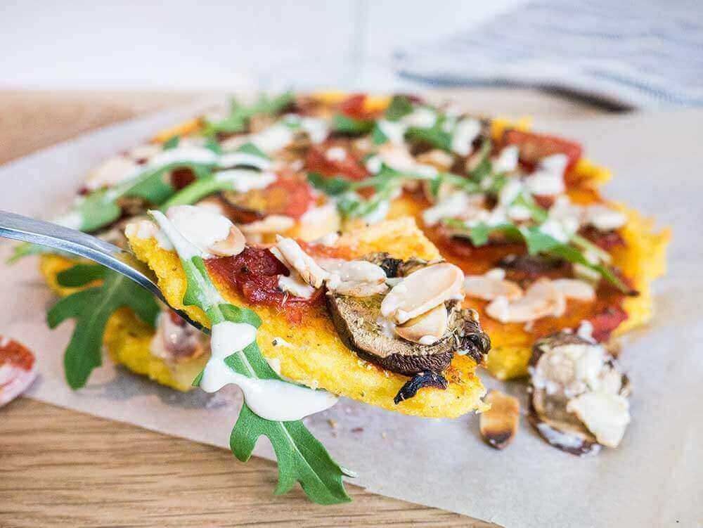polenta pizza with tahini sauce