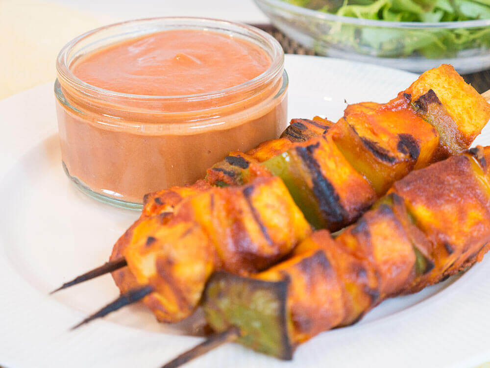 peanut tofu skewers for vegan bbq