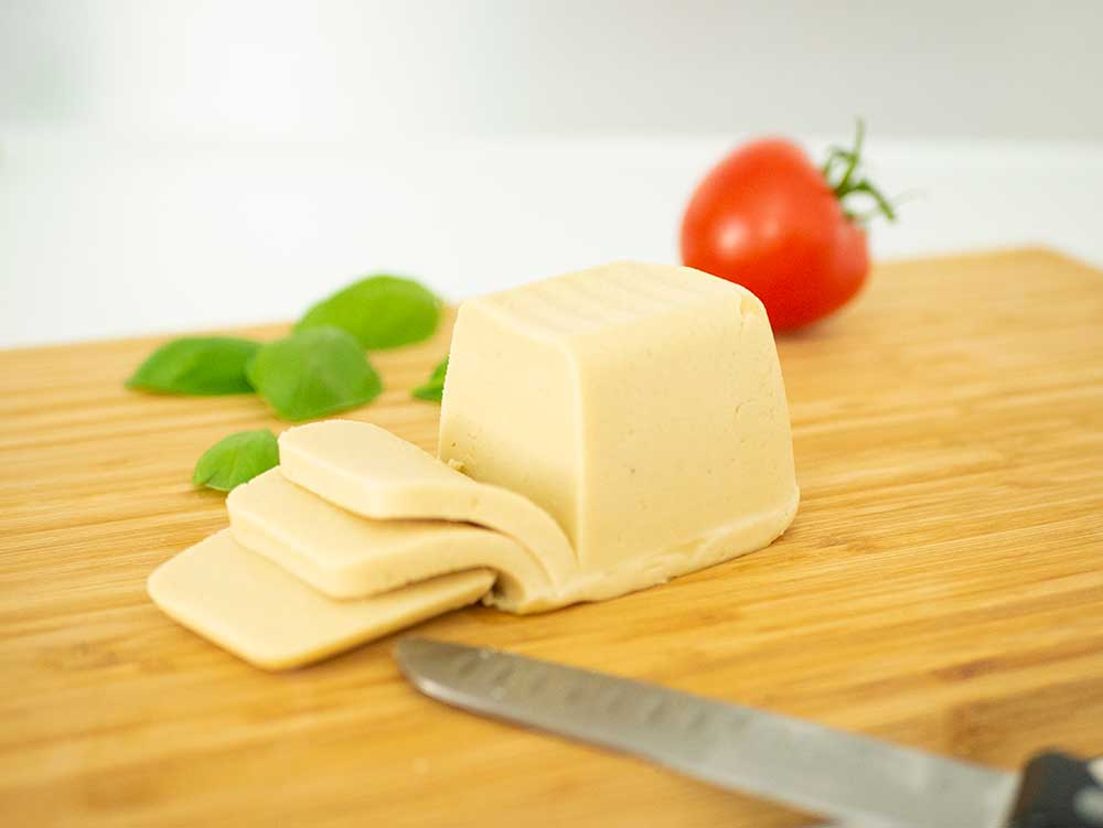 sliced vegan mozzarella