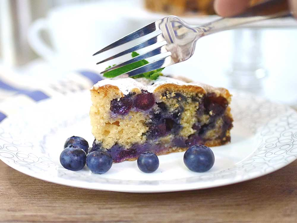 blueberry cake and fork