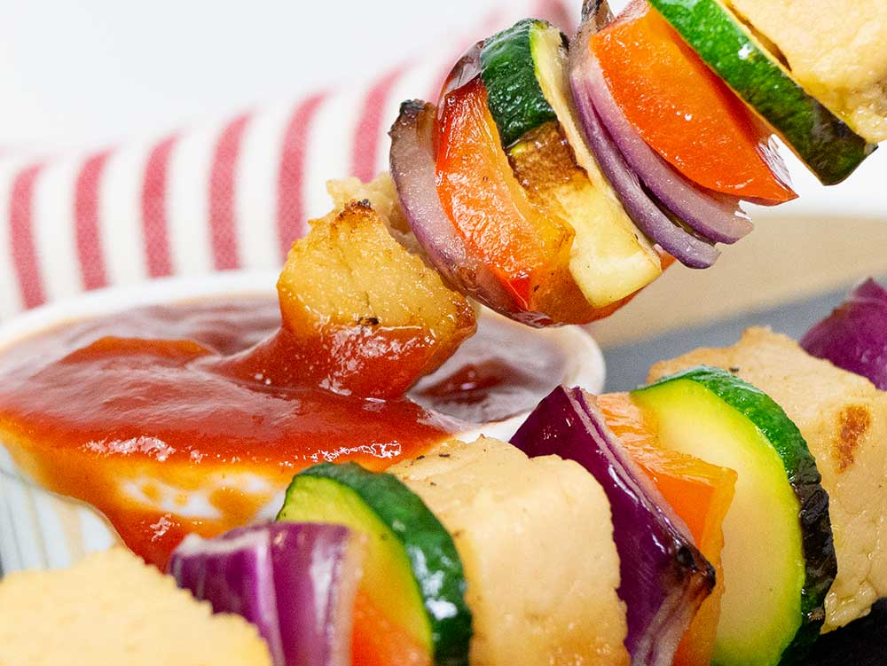 vegan halloumi skewers with ketchup
