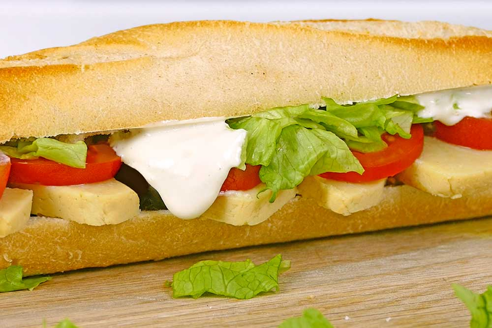 vegan ploughman's sandwich with vegan mayo
