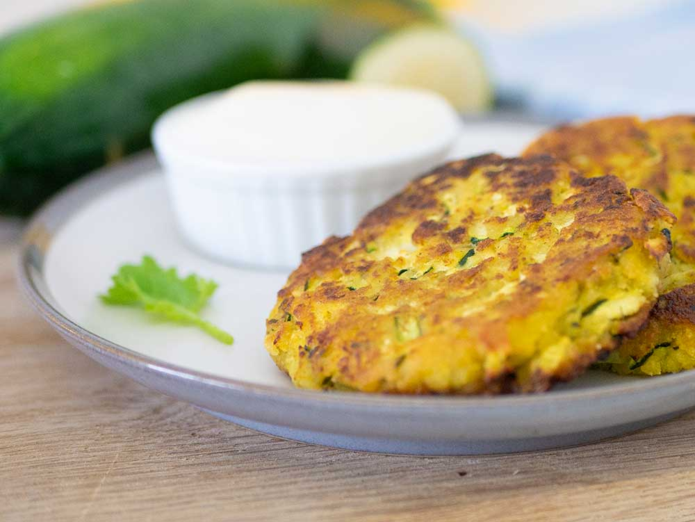 courgette patties on plate
