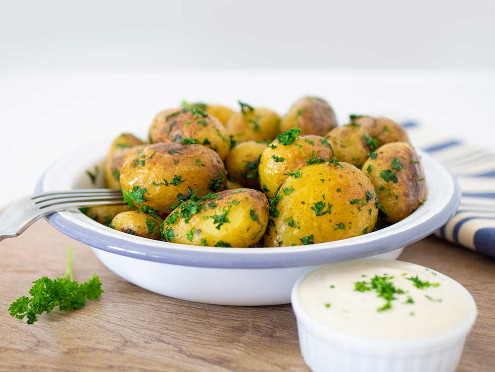 parsley potatoes on kitchen table