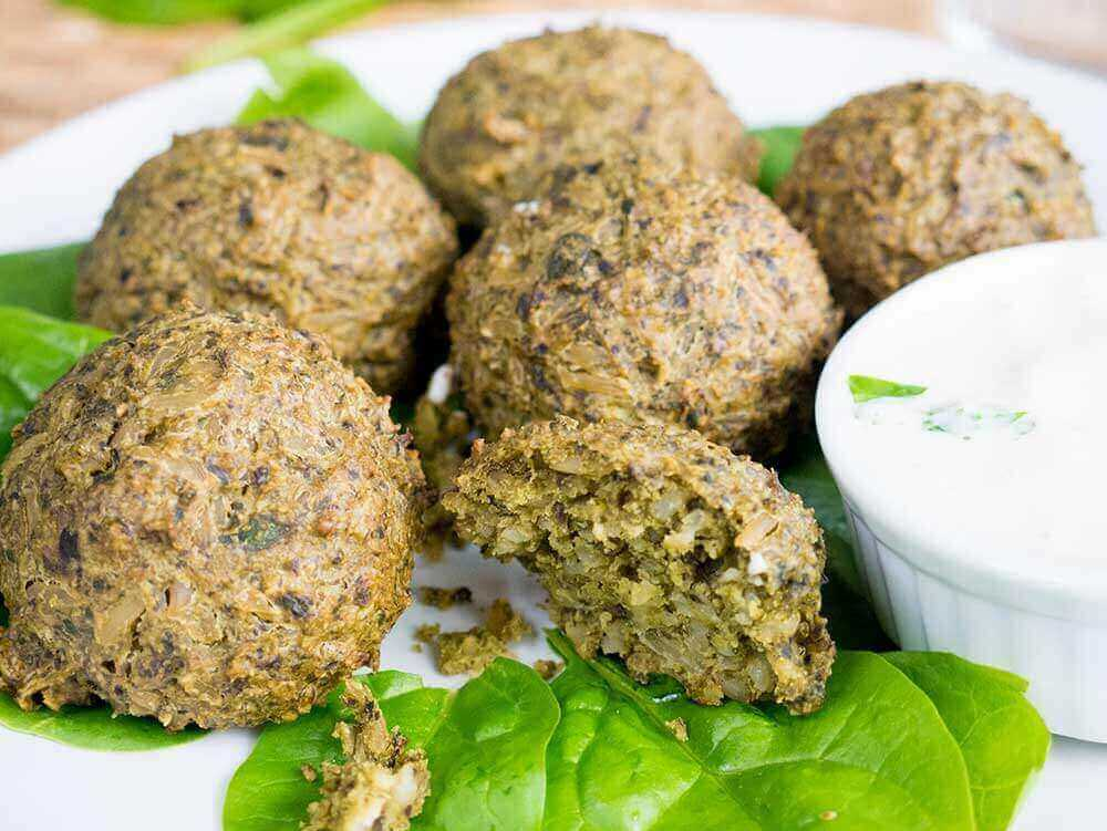 spinach rice balls, high in protein and iron
