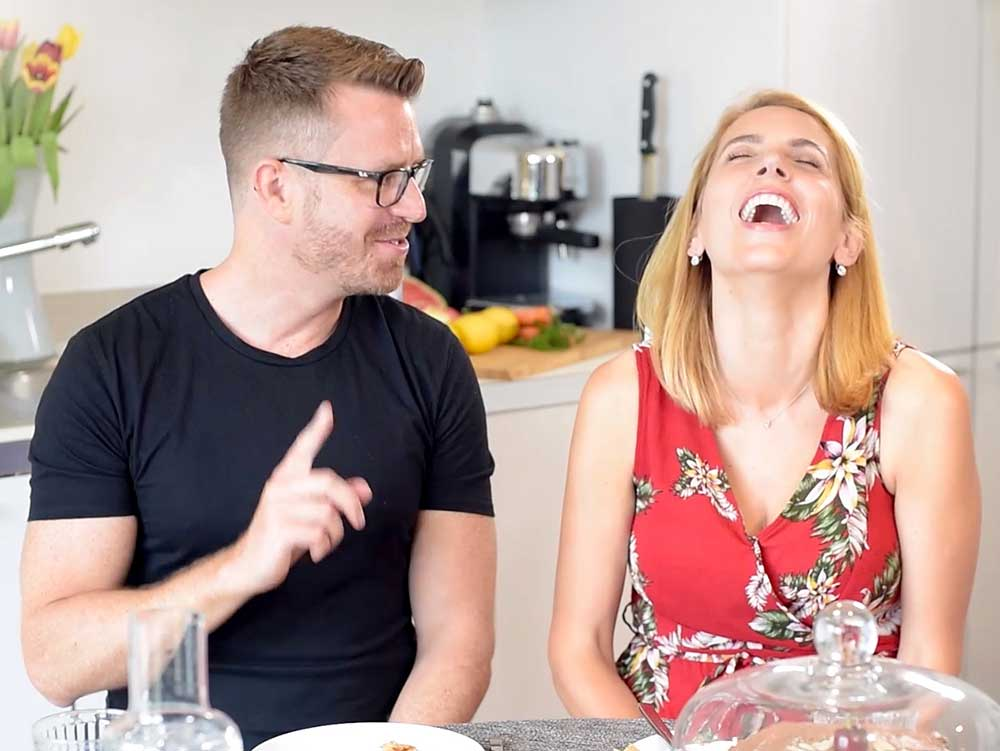 Jasmine Harman laughing - interview with exceedingly vegan