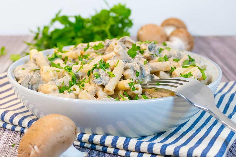 Tahini mushroom pasta