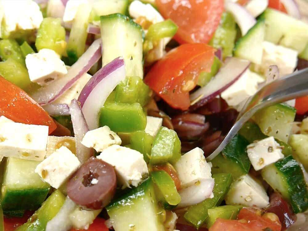 vegan tofu feta cheese in Greek salad