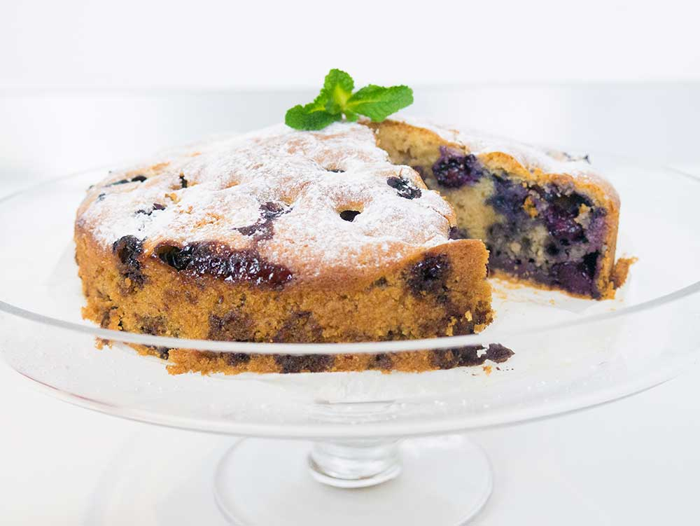 blueberry cake goes really well with coffee or tea