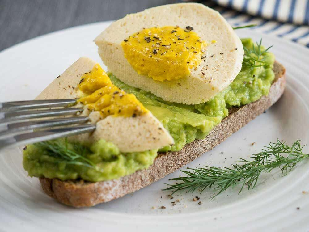 vegan boiled egg on avocado toast