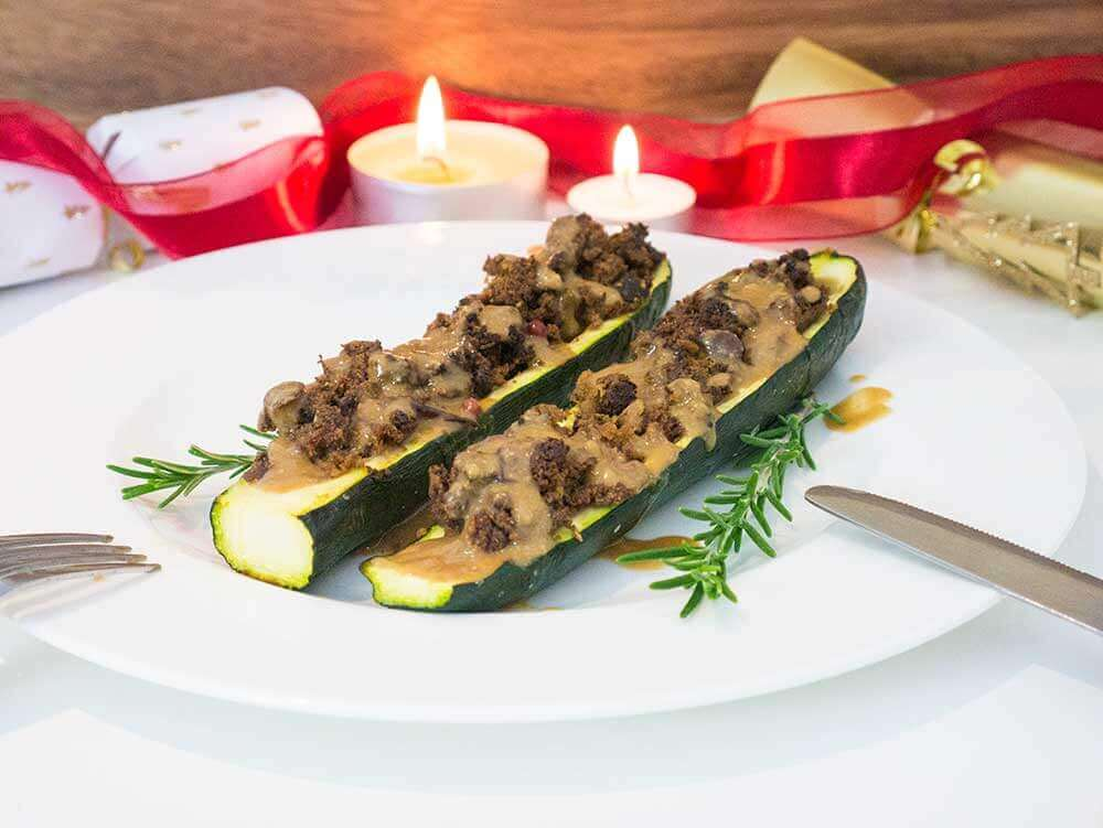 vegan christmas recipe stuffed courgette