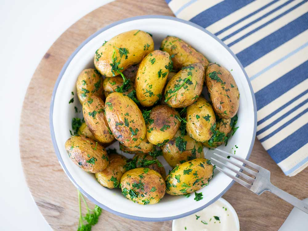 Parsley potatoes shot from above