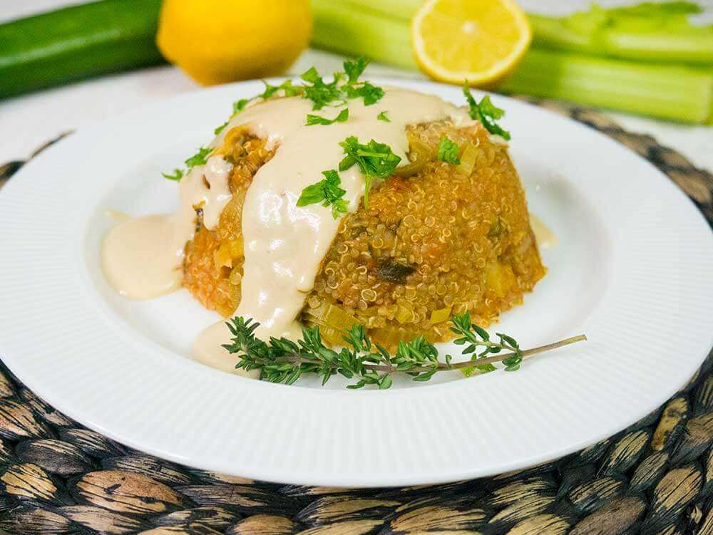 quinoa bake with tahini sauce
