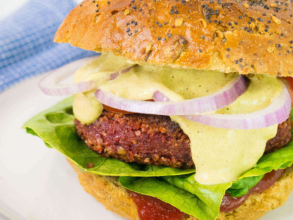 vegan beet walnut burger