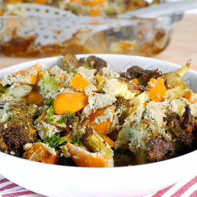 Sweet potato and broccoli bake with pumpkin seed pesto - exceedinglyvegan.com