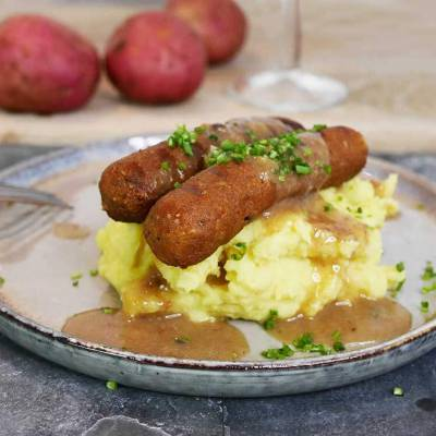 Vegan bangers & mash and vegan gravy - from scratch - exceedinglyvegan.com