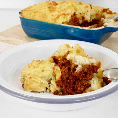 Vegan cottage pie with sunflower seed mince - exceedinglyvegan.com