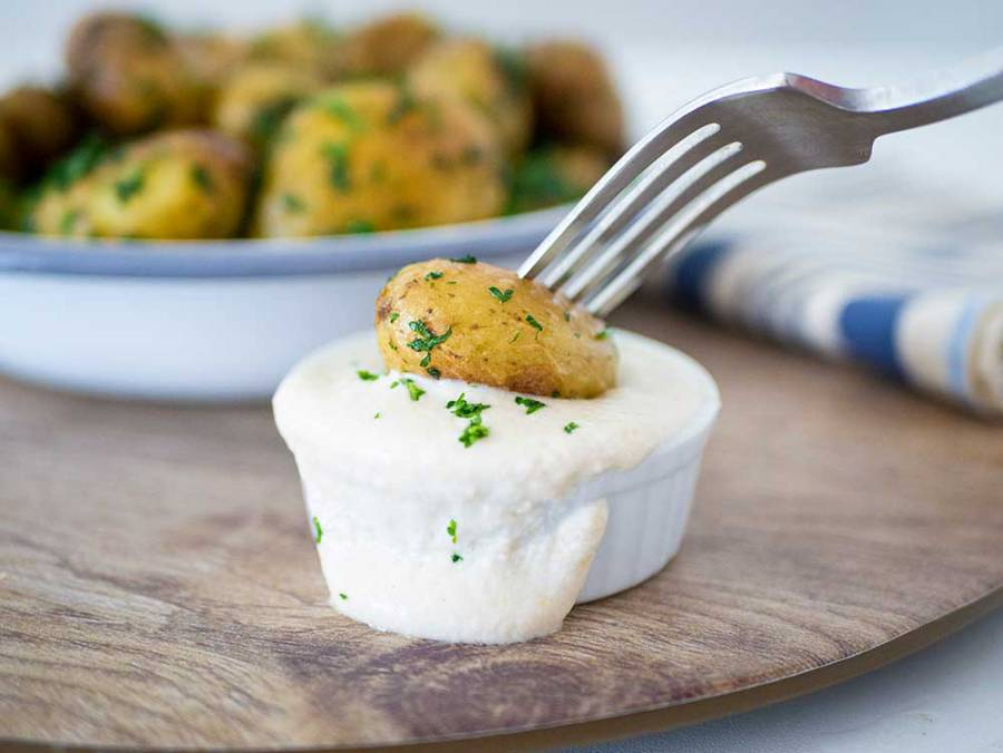 Parsley potatoes with sunflower seed sour cream