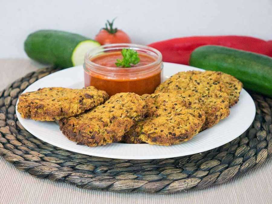 Quinoa zucchini patties with a smokey red pepper dip