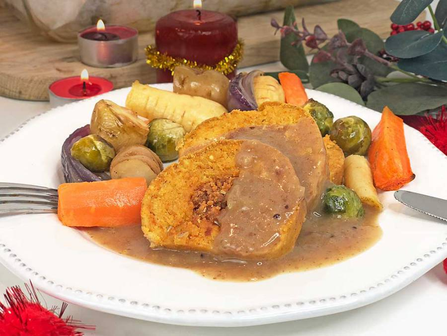 Vegan Christmas dinner with cranberry gravy - gluten-free