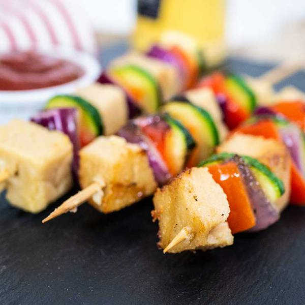 vegan halloumi skewers - perfect for bbq