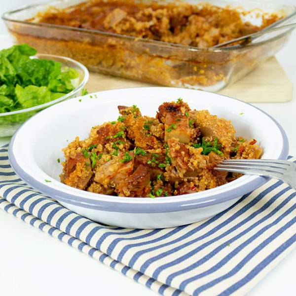 Easy jackfruit and quinoa bake
