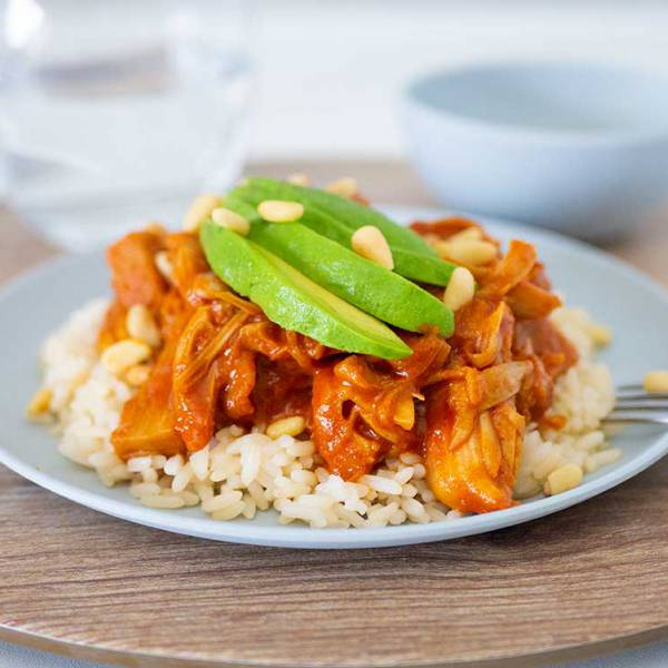 Smokey bbq jackfruit with rice - vegan