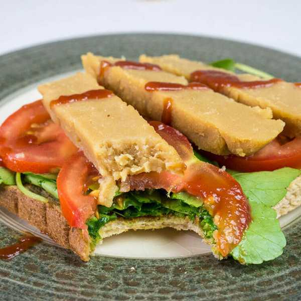 Chickpea flour tofu - perfect for sandwiches
