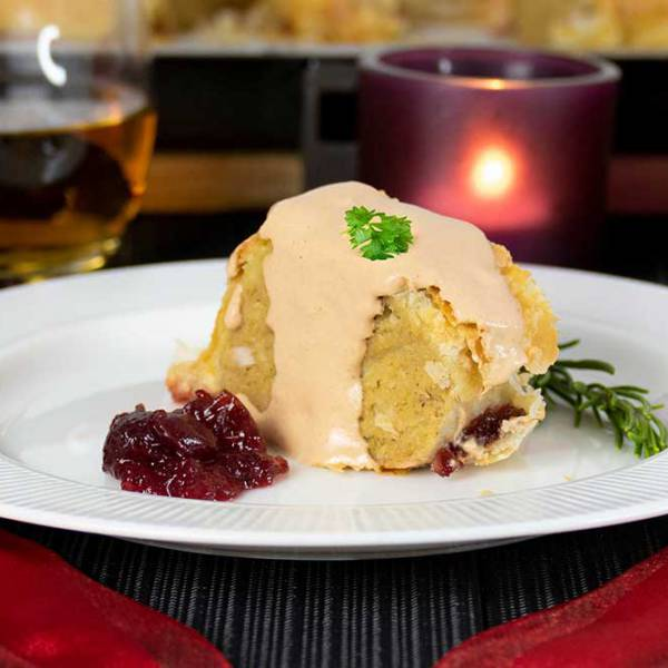 Vegan Turkey Wellington with walnut gravy - Christmas dinner